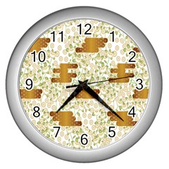 Flower Floral Leaf Rose Pink White Green Gold Wall Clocks (silver)  by Alisyart