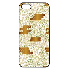 Flower Floral Leaf Rose Pink White Green Gold Apple Iphone 5 Seamless Case (black)