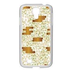 Flower Floral Leaf Rose Pink White Green Gold Samsung Galaxy S4 I9500/ I9505 Case (white) by Alisyart