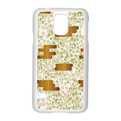 Flower Floral Leaf Rose Pink White Green Gold Samsung Galaxy S5 Case (white)