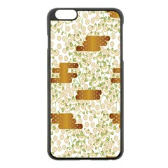 Flower Floral Leaf Rose Pink White Green Gold Apple Iphone 6 Plus/6s Plus Black Enamel Case by Alisyart