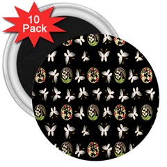Butterfly Floral Flower Green White 3  Magnets (10 Pack)