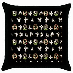 Butterfly Floral Flower Green White Throw Pillow Case (black)