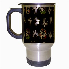 Butterfly Floral Flower Green White Travel Mug (silver Gray) by Alisyart