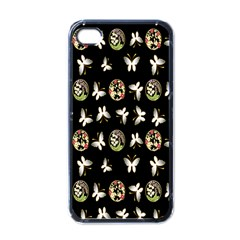 Butterfly Floral Flower Green White Apple Iphone 4 Case (black)