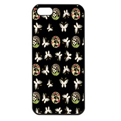 Butterfly Floral Flower Green White Apple Iphone 5 Seamless Case (black)