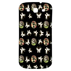 Butterfly Floral Flower Green White Samsung Galaxy S3 S Iii Classic Hardshell Back Case