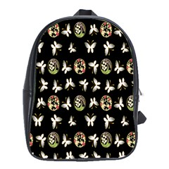 Butterfly Floral Flower Green White School Bags (xl)