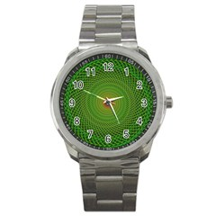 Green Fractal Simple Wire String Sport Metal Watch
