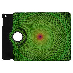 Green Fractal Simple Wire String Apple Ipad Mini Flip 360 Case by Amaryn4rt