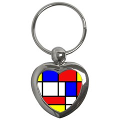 Mondrian Red Blue Yellow Key Chains (heart)  by Amaryn4rt
