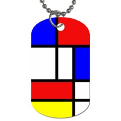 Mondrian Red Blue Yellow Dog Tag (one Side) by Amaryn4rt
