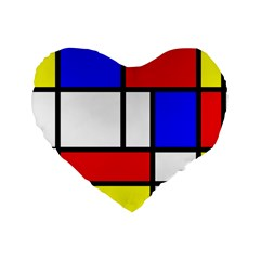 Mondrian Red Blue Yellow Standard 16  Premium Flano Heart Shape Cushions by Amaryn4rt