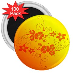 Flowers Floral Design Flora Yellow 3  Magnets (100 Pack)
