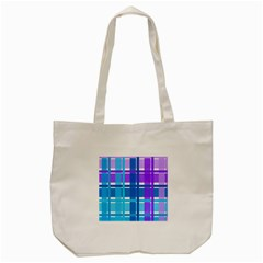 Gingham Pattern Blue Purple Shades Tote Bag (cream)