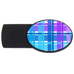 Gingham Pattern Blue Purple Shades Usb Flash Drive Oval (4 Gb) by Amaryn4rt