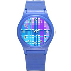 Gingham Pattern Blue Purple Shades Round Plastic Sport Watch (s)