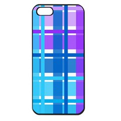 Gingham Pattern Blue Purple Shades Apple Iphone 5 Seamless Case (black)