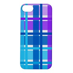 Gingham Pattern Blue Purple Shades Apple Iphone 5s/ Se Hardshell Case by Amaryn4rt