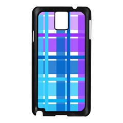 Gingham Pattern Blue Purple Shades Samsung Galaxy Note 3 N9005 Case (black)