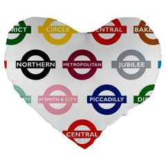 Underground Signs Tube Signs Large 19  Premium Heart Shape Cushions