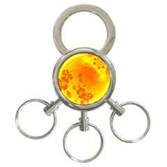 Flowers Floral Design Flora Yellow 3 Ring Key Chains