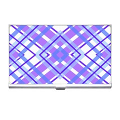 Geometric Plaid Pale Purple Blue Business Card Holders