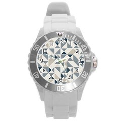 Geometric Triangle Modern Mosaic Round Plastic Sport Watch (l) by Amaryn4rt