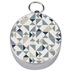 Geometric Triangle Modern Mosaic Silver Compasses by Amaryn4rt