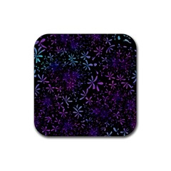 Retro Flower Pattern Design Batik Rubber Square Coaster (4 Pack)  by Amaryn4rt