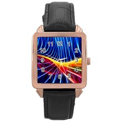 Color Colorful Wave Abstract Rose Gold Leather Watch  by Amaryn4rt
