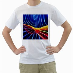 Color Colorful Wave Abstract Men s T Shirt (white)  by Amaryn4rt