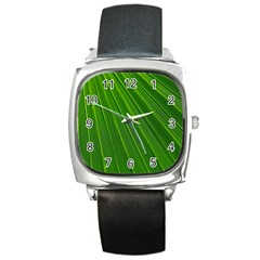 Green Lines Macro Pattern Square Metal Watch by Amaryn4rt