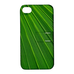 Green Lines Macro Pattern Apple Iphone 4/4s Hardshell Case With Stand by Amaryn4rt