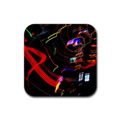 Night View Night Chaos Line City Rubber Coaster (square)  by Amaryn4rt