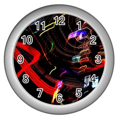 Night View Night Chaos Line City Wall Clocks (silver)  by Amaryn4rt