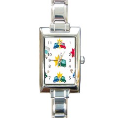 Accident Crash Car Cat Animals Rectangle Italian Charm Watch