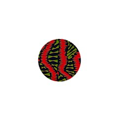 African Fabric Red Green 1  Mini Magnets