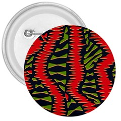 African Fabric Red Green 3  Buttons by Alisyart