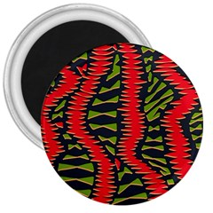 African Fabric Red Green 3  Magnets