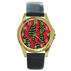 African Fabric Red Green Round Gold Metal Watch by Alisyart
