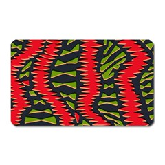 African Fabric Red Green Magnet (rectangular)