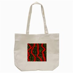 African Fabric Red Green Tote Bag (cream)