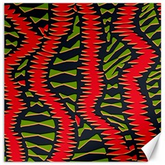African Fabric Red Green Canvas 12  X 12