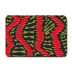 African Fabric Red Green Small Doormat
