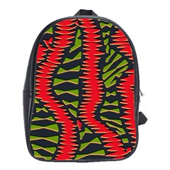 African Fabric Red Green School Bags(large)