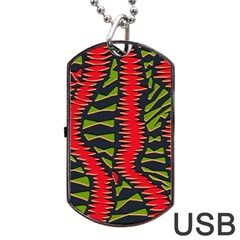 African Fabric Red Green Dog Tag Usb Flash (one Side)
