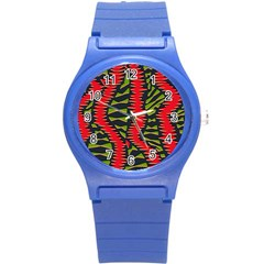 African Fabric Red Green Round Plastic Sport Watch (s) by Alisyart