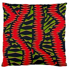 African Fabric Red Green Large Cushion Case (two Sides)