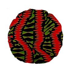 African Fabric Red Green Standard 15  Premium Round Cushions
